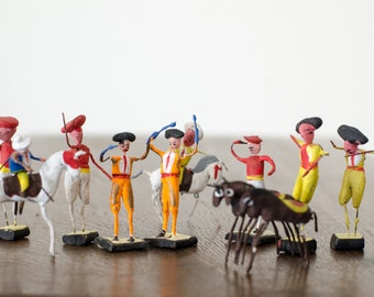 Vintage Wire / Clay Mexican Folk Art Matador Bull Fighters Picadors Horse Riders and Horse Figurines - Set of 12