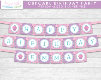 Cupcake Theme Happy Birthday Party Banner | Purple & Pink | Personalized | Printable DIY Digital File