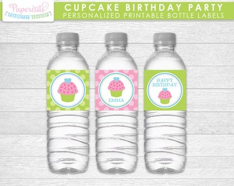 Cupcake Theme Birthday Party Water Bottle Labels | Green & Pink | Personalized | Printable DIY Digital File