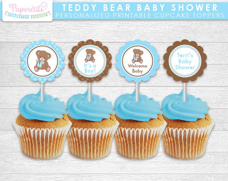 teddy bear theme baby shower cupcake toppers blue brown