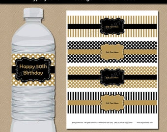 Golden Birthday Water Bottle Labels - Printable Golden Anniversary Party Decorations - 50th Birthday Party Decor - 50th Anniversary Label B3
