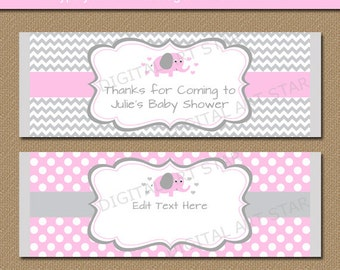 EDITABLE Chocolate Bar Wrapper Template - Printable Pink Elephant Candy Bar Wrappers - Pink and Grey Elephant Baby Shower Party Favors