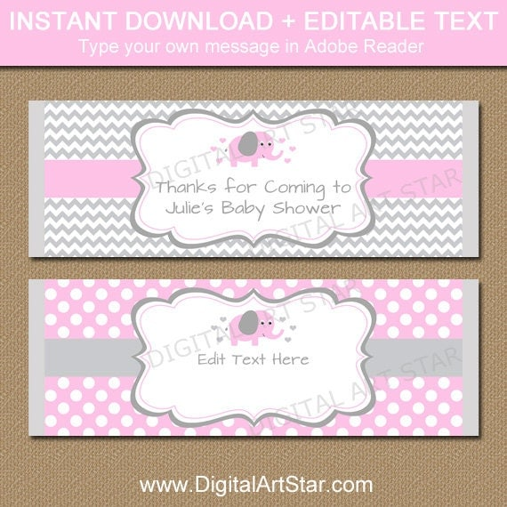 EDITABLE Chocolate Bar Wrapper Template - Printable Pink Elephant ...