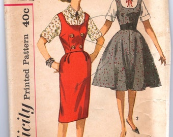 """1960's Simplicity One Piece Dress and Blouse Pattern - UNCUT - Bust 34"""" - No. 3595"""