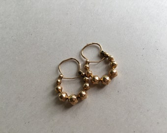 Vintage French Creole Regional Hoop Earrings, Solid 18K Gold, Boules Savoyardes