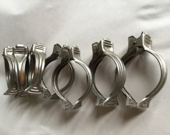 Vintage French Metal Curtain Clip Rings, 7 Large Silver Tone clawfoot clips, Art Deco