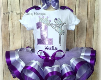 Ballerina Birthday Outfit - Ballerina Birthday Ribbon Trim Tutu Outfit - First Birthday Outfit - Purple and Silver Ballerina Birthday Outfit