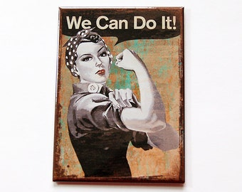 We can do it Magnet, magnet, Kitchen magnet, Magnet, ACEO, Fridge magnet, Locker Magnet, We can do it, Retro Design, WW2 design (5382)