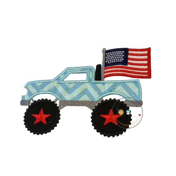 Patriotic monster truck fabric iron on applique for Monster truck fabric