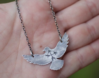 Silver Raven Necklace, Spirit Animal Pendant, Layering Necklace