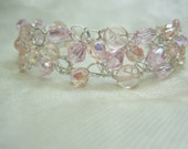 Blush Pink Wire Crochet Bracelet, pink beaded bracelet, handmade bead jewelry