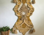large Don Freedman geometric macrame wall hanging. woven 1970s Don Freedman tapestry. boho chic modernist Don Freedman macrame fiber art