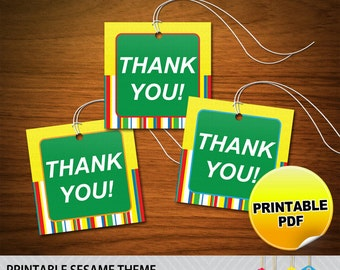 Sesame Street Party Thank You Tags - Printable PDF