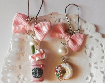 Starbucks inspired frappuccino coffee earrings and donuts doughnuts - handmade miniature polimer clay food jewelry