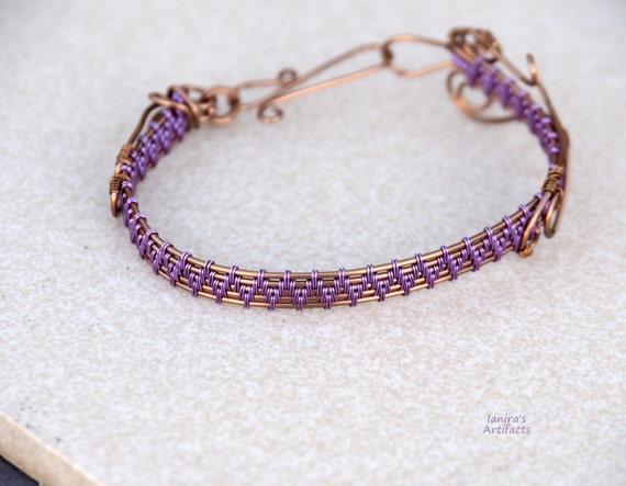 Purple bangle bracelet Wire wrapped wrist cuff Anniversary gift for women her Christmas gifts Casual Everyday handmade gift for mother