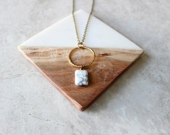 Marble Circle Pendant Necklace, Simple Brass + Stone Necklace