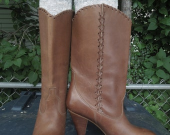 Cowboy Cowgirl Boots Vintage 9 West Nine High Heeled Brown Leather Made in Brazil Womens Size 8