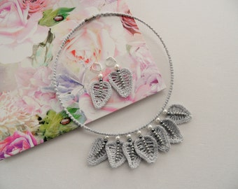 Crochet Choker Necklace and Earrings Set - Grey Necklace - Leaves Necklace - Beaded Necklace Set
