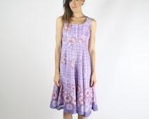 90s sunflower babydoll dress, Purple plaid Vintage dress, XS