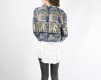 Reversible 90s Cotton knit Jacket, Bohemian Grunge cropped jacket Ethnic Festival Indian elephant Unisex, Medium
