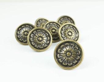 Vintage Brass Hardware, Knob Pulls, for cabinets and drawers, embossed flower design (set of 7).