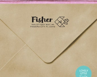 Self-inking Address Stamp Fish Themed, Origami Fish custom - style 415 - Lovely Little Party