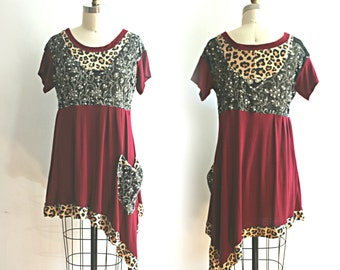 Upcycled Clothing Bohemian Tunic Sequined Maroon Leopard Funky Print Asymmetrical Top Recycled Clothing Size Medium