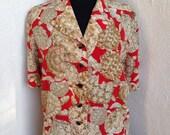Vintage Valentino Miss V silk blouse turtle theme tortoise buttons sz 44 10