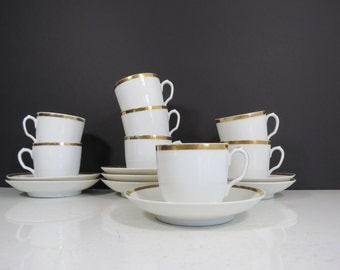Antique Limoges Teacups Set // Haviland & Co. French China Coffee Tea Cups with Saucers Service for Eight Worn Chipped Discounted Condition