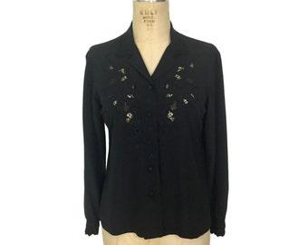 vintage silk floral cutout blouse / Peony / button front / feminine / women's vintage blouse / size 38