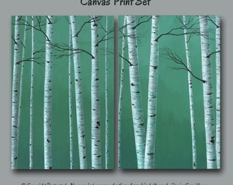 Teal wall art, Birch tree painting - Canvas PRINT set, Oversized diptych, Large artwork, Gray, Teal home decor, Office Decor, Living room