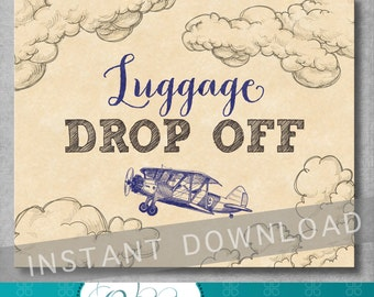 Luggage Drop Off Sign - 8x10 inches - Vintage Airplane Baby Shower - Birthday - Baby Boy - Blue - Digital - Printable - INSTANT DOWNLOAD