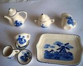 Vintage Miniature  Blue Delft Tea Set, Toy Tea Set in Original Box, Collectible Windmill Tea Service, 10 Piece Tea Set, Dutch Porcelain