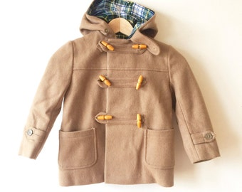 60s Girls Toggle Coat Beige Double-breasted Kids Size 5 Childrens Vintage