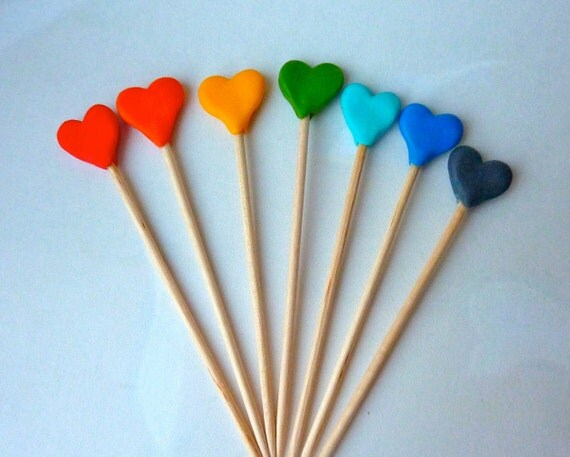 Rainbow Heart Cake Toppers- Cupcake Picks - Birthday Party Cake Decoration