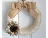 Fall Wreath - Everyday Wreath - Ivory/Gold Burlap Wreath with Shimmery Burlap Bow and Stunning Sunflower