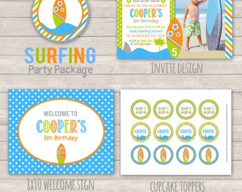 Surfing Birthday Party Package - Surfing Birthday - Beach Party - Summer Party Decor - Summer Birthday - Surfing DIY Printable