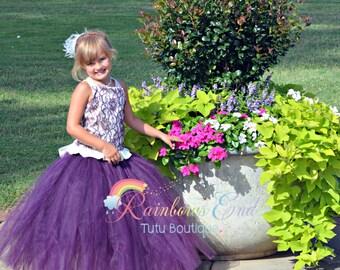 Purple Lace Couture Flower Girl,  Corset Tutu Dress, fancy dress  SIZES 12M - girls 7