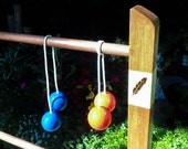 Personalized Ladder Ball Game Set - Pyrography Logos, Initials, Golf Ball Bolas, Scoreboard, Stained Wood Ladder Toss, Wedding Game