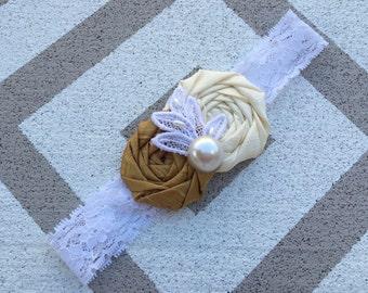 Gold & cream flowers headband~Rosette flowers headband~Lace headband~Girl headband~Photo prop headband~Flower girl headband~Handmade flowers