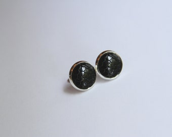 Mermaid Scale Solid Black Earrings - Posts/Studs 12mm LARGE