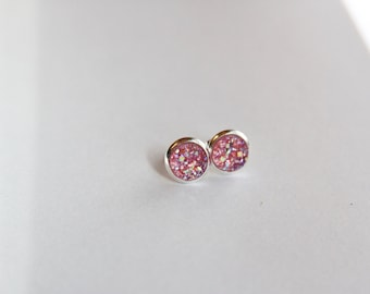 SMALL Pink Chunky Faux Druzy Glitter Earrings - Posts/Studs 8mm SMALL (D201)