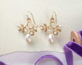 Pearl 'Essa' Earrings - Hand Wired Swarovski Crystal Pearls and Botanical Brass Floral
