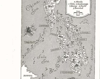 Philippines Map Art / Vintage Map Print / Old Map Wall Art / Manila Philippines / Travel Wall Decor / Nursery Room Art / World Map Decor
