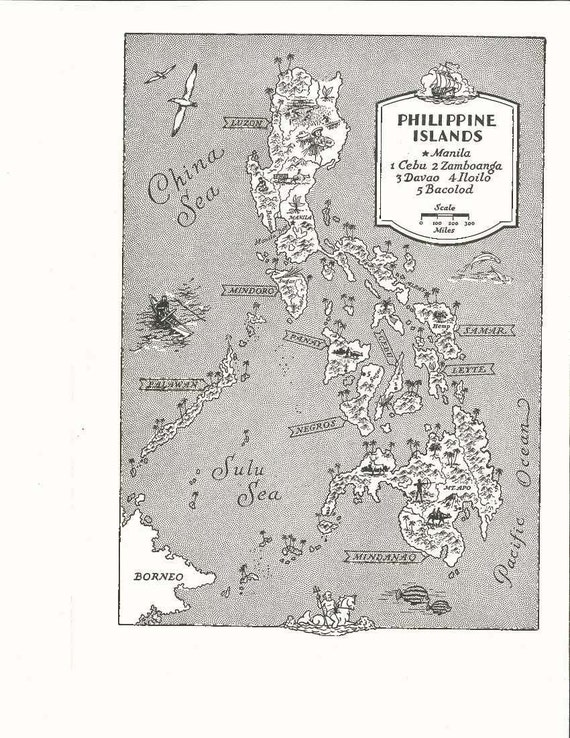 Philippines map art vintage map print old map wall art like this item publicscrutiny Images