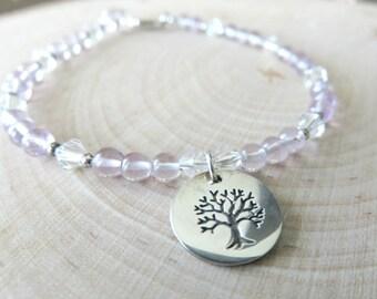 Tree of Life Amethyst Bracelet/ Amethyst Gemstone Bracelet/ Tree Bracelet/ Silver Bracelet/ Healing Bracelet/ Nature Inspired/ Woodland