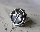 Dragonfly Ring silver, Antique Button Ring adjustable, Dragonfly Jewelry, Antique Button Jewelry veryDonna, Donna Sutor