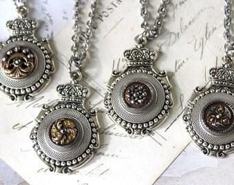 Crowned Crest Medallion Pendant Necklace Silver, Antique Button Necklace, veryDonna Antique Button Jewelry