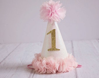 Girl Birthday Hat..1st Birthday Hat...First Birthday Hat..Baby Girl 1st Birthday.Pink Gold White Birthday..Silver Birthday..2nd Birthday hat