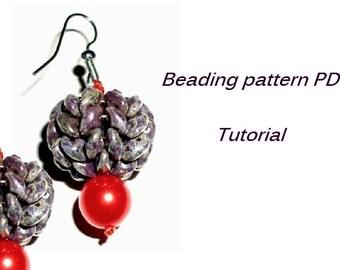 Beaded earrings. Beading Tutorial. Beading pattern PDF. Instant download.SuperDuo Earrings Pattern